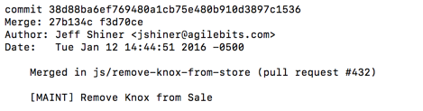Knox removed from AgileBits store