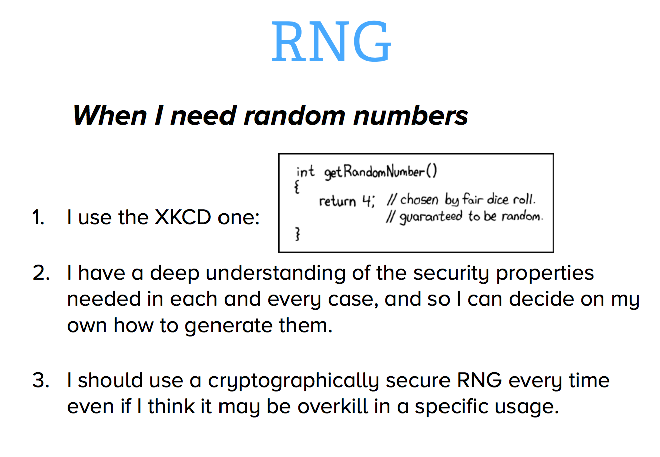 What RNG should our developers use?
