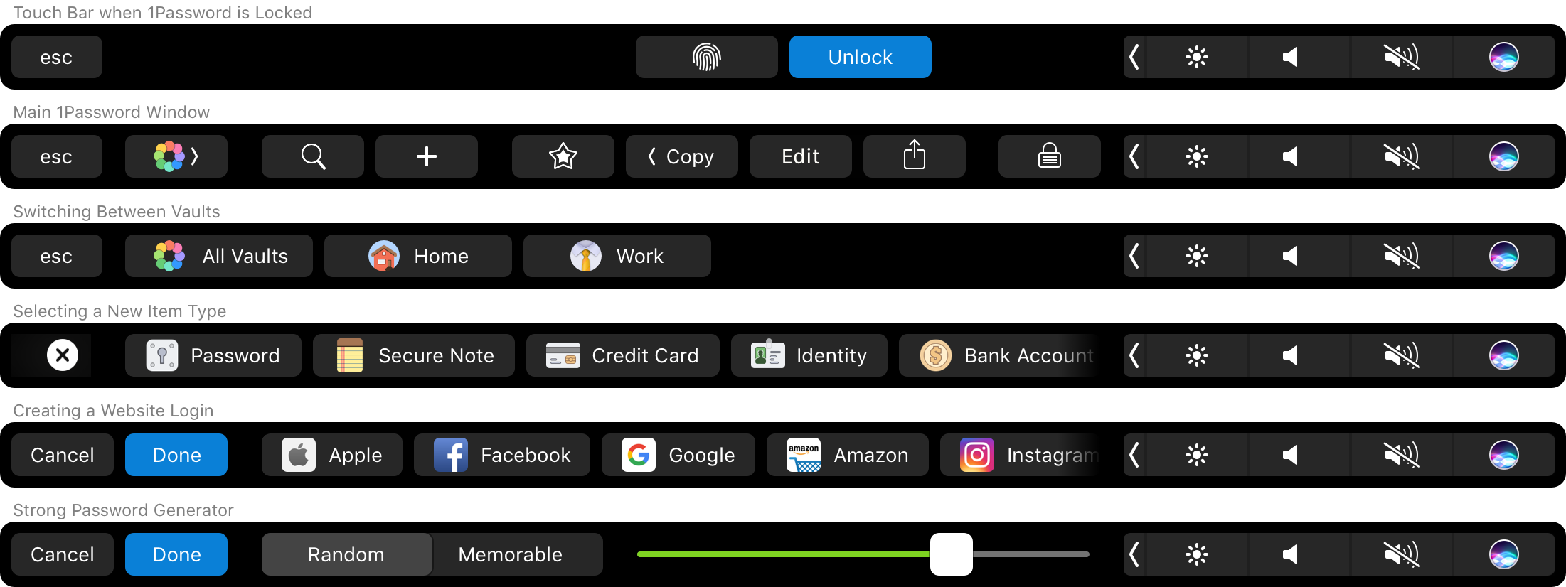 Touch Bar for 1Password